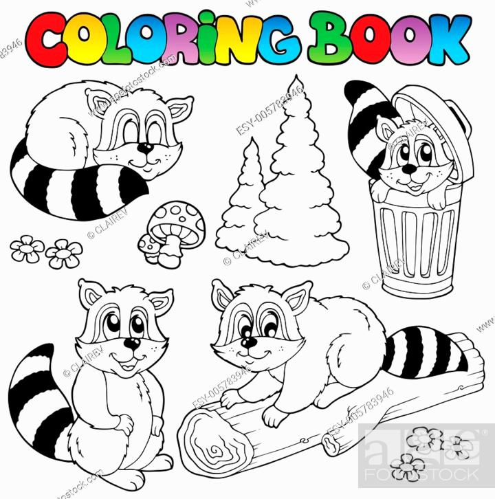 Stock Vector: Coloring book with cute racoons.
