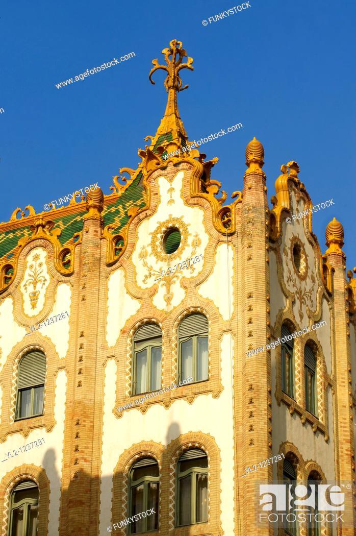 Stock Photo: The Sucession Postal Savings Bank building Postatakarékpénztár designed by Ödön Lechner  Budapest, Hungary.