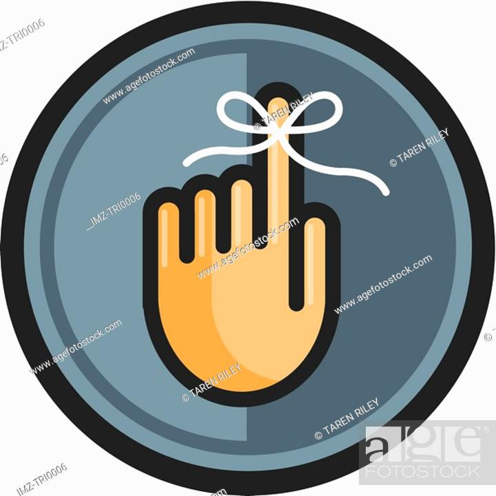 Stock Photo: Reminder string tied around a finger.