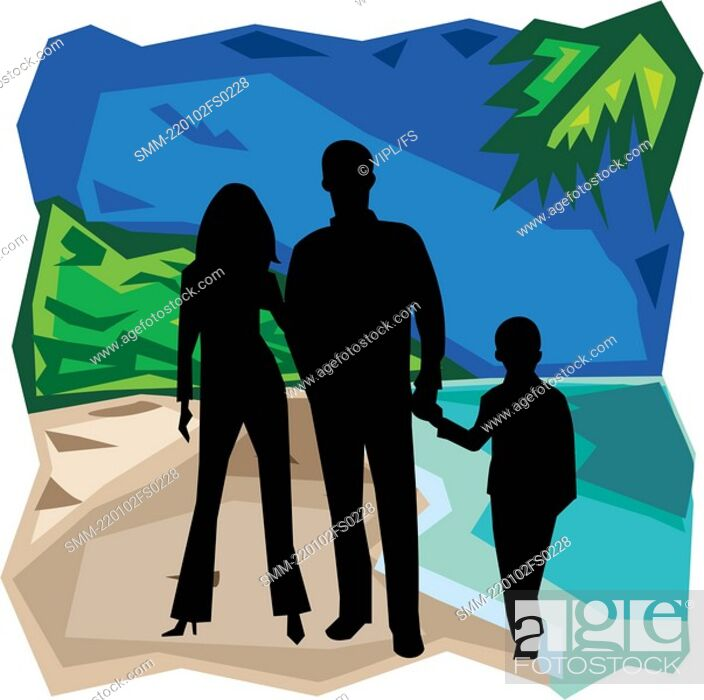 Stock Photo: Front view of family standing together.