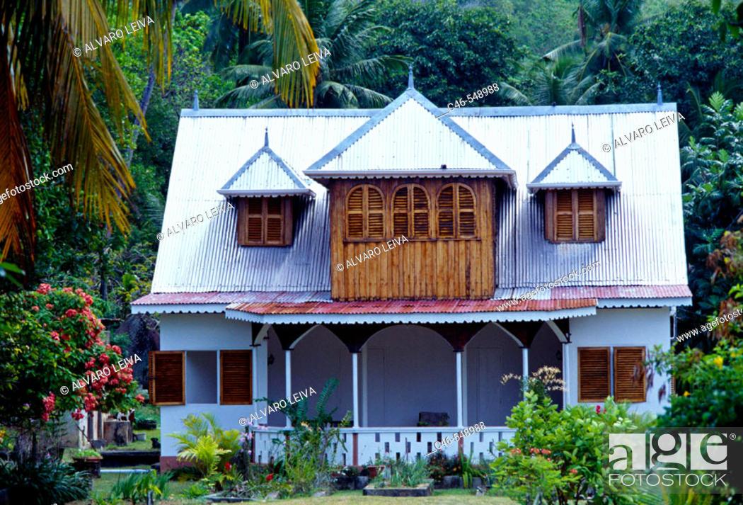 House Anse Aux Pins Beach Mahe Island Seychelles Stock