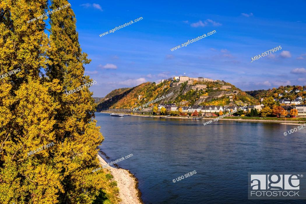 Stock Photo: Germany, Rhineland-Palatinate, upper Middle Rhine Valley, Koblenz, Rhine shore with district and Ehrenbreitstein Fortress.
