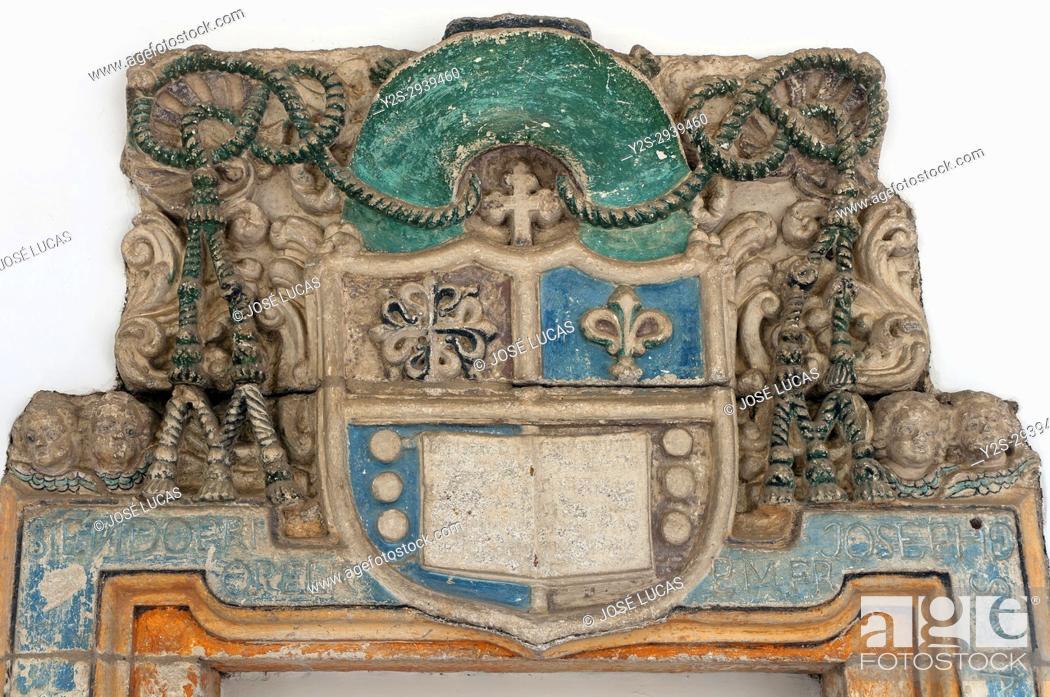 Stock Photo: Provincial museum - shield of the bishop Francisco Izquierdo and Tavira, Lugo, Region of Galicia, Spain, Europe.