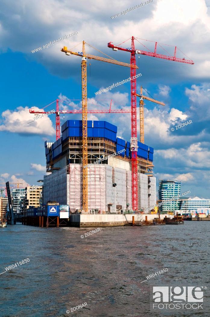 Stock Photo: Hamburg, Germany, Elbphilharmonie under construction.