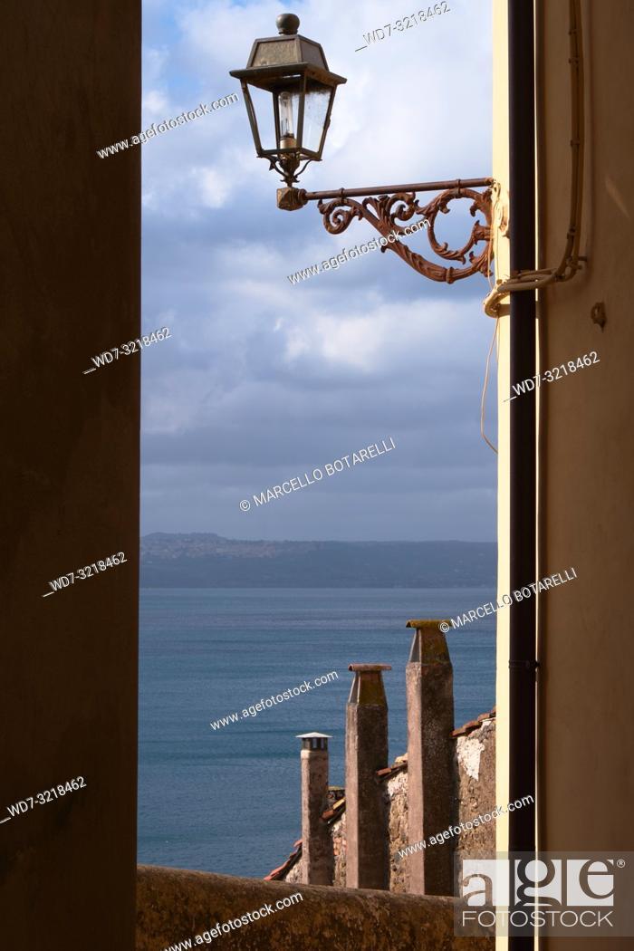 Stock Photo: view of Lago di Bracciano from a road of Anguillara Sabazia, Lazio, Italy.