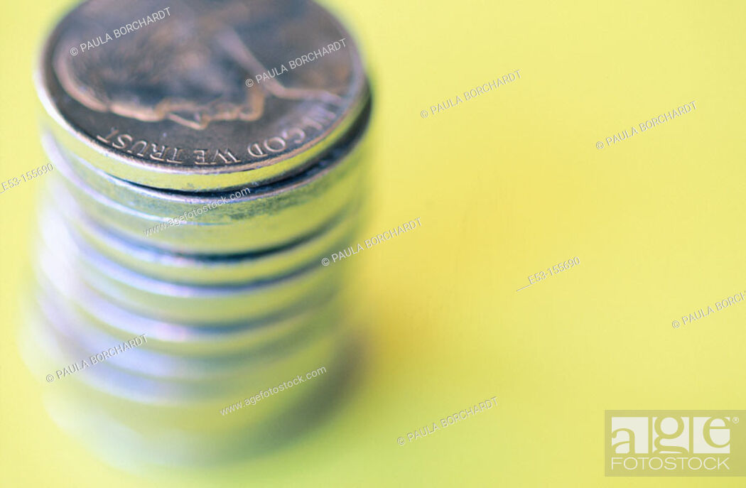 Stock Photo: Stack of American nickels.
