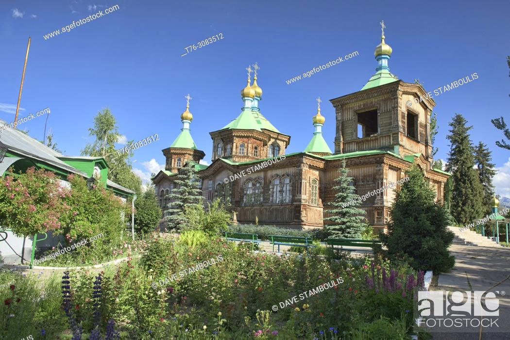 Stock Photo: The wooden Holy Trinity Russian Orthodox Cathedral, Karakol, Kygyzstan.