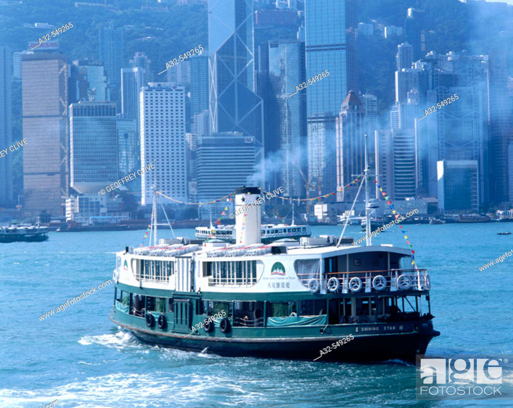 Stock Photo: Ferry at Victoria harbour. Hong Kong. China.