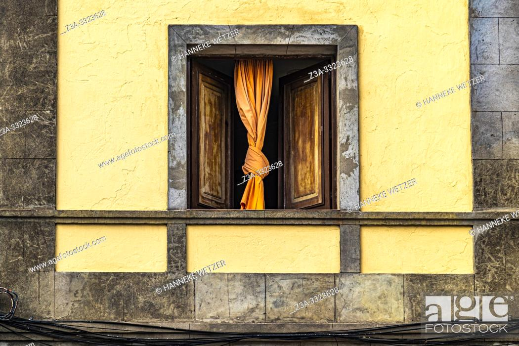 Stock Photo: Window with knotted curtain in Las Palmas de Gran Canaria, Canary Islands.