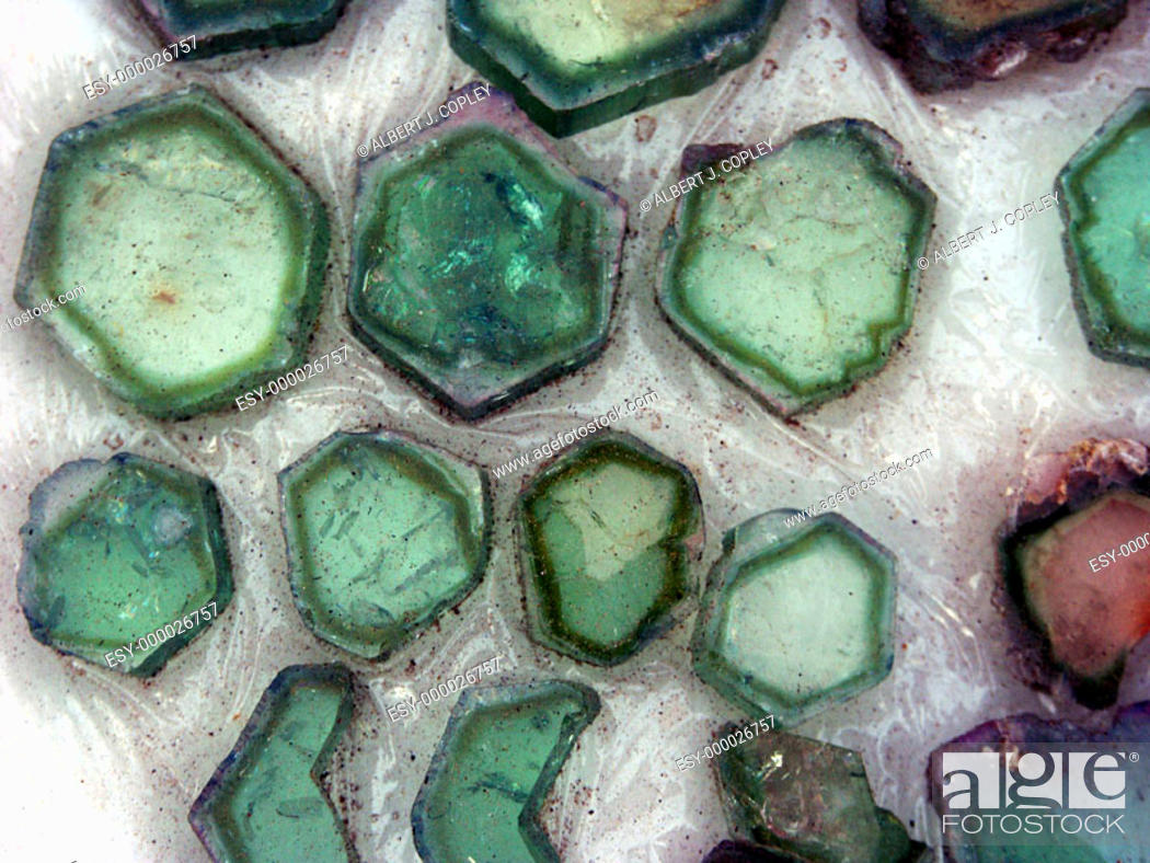 Stock Photo: Tourmaline slices.