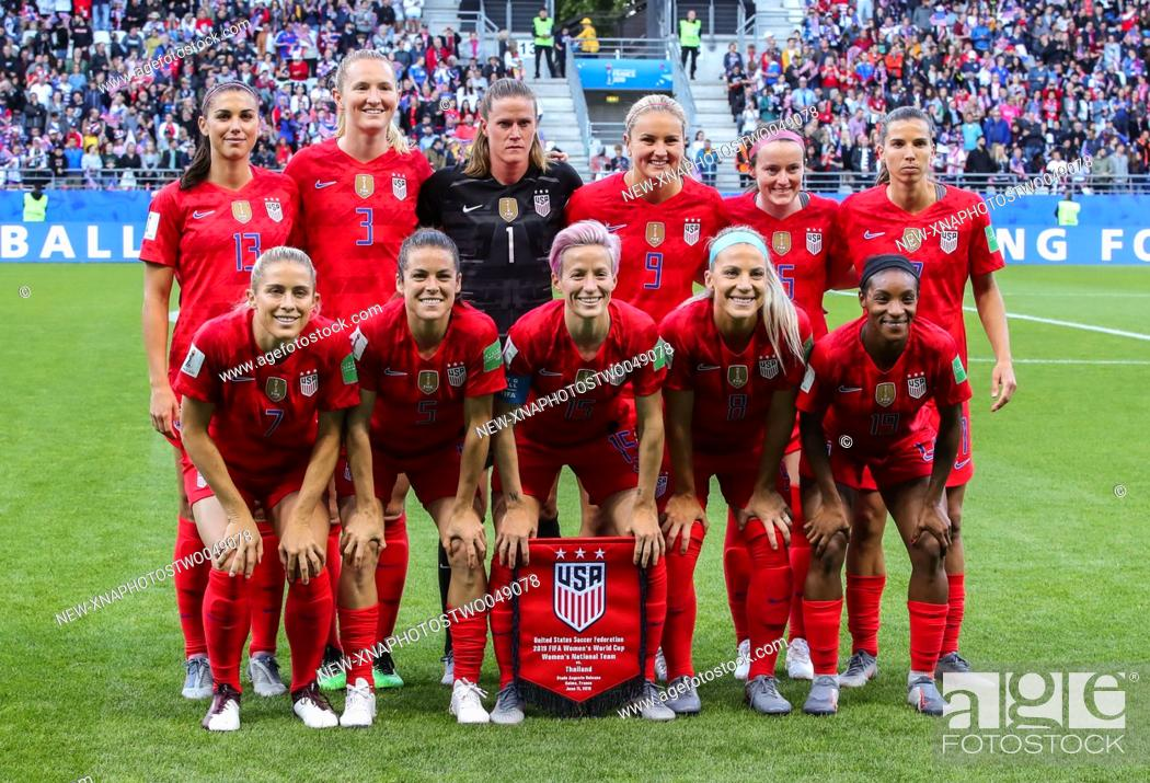 Stock Photo: (190612) -- REIMS (FRANCE), June 12, 2019 (Xinhua) -- Players of the United States pose for group photos before the Group F match between the United States and.