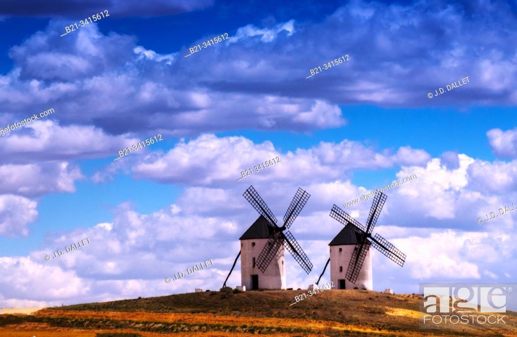 Stock Photo: Spain, Castilla La Mancha, Ciudad Real, windmills at Puerto Lapice.