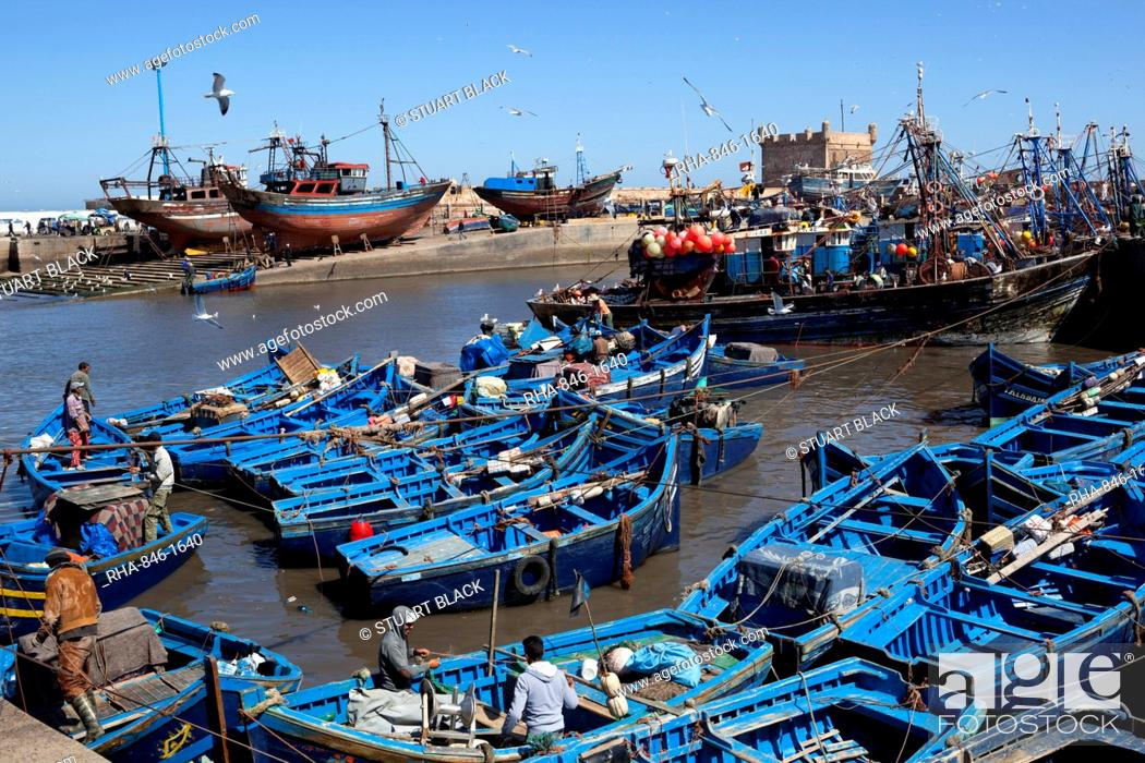 Stock Photo: Fishing port with traditional boats in front of the old fort, Essaouira, Atlantic coast, Morocco, North Africa, Africa.