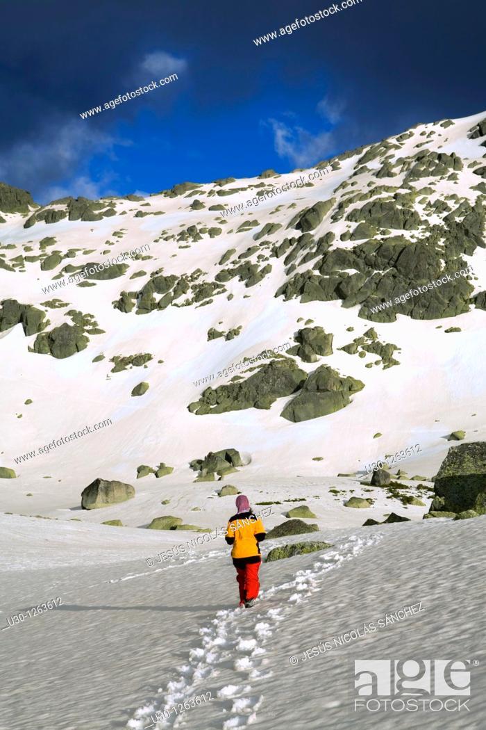 Stock Photo: Mountaineer in the Sierra de Béjar Natural Park, in Salamanca province, Biosphere Reserve of Sierra de Béjar and Francia.