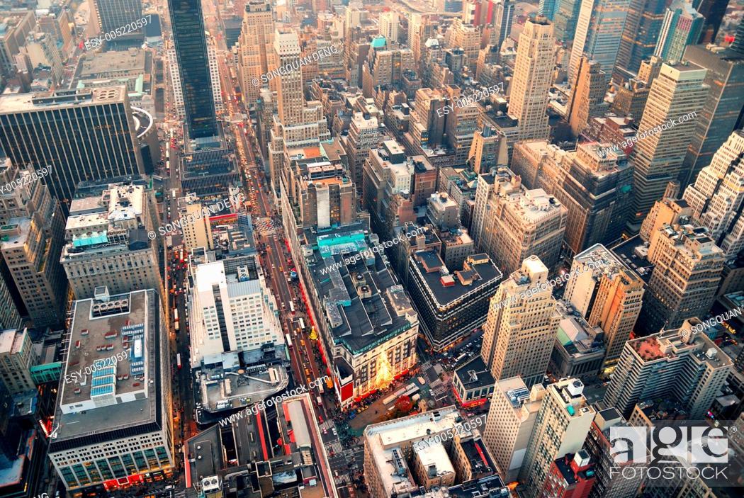 Stock Photo: New York City street aerial view.