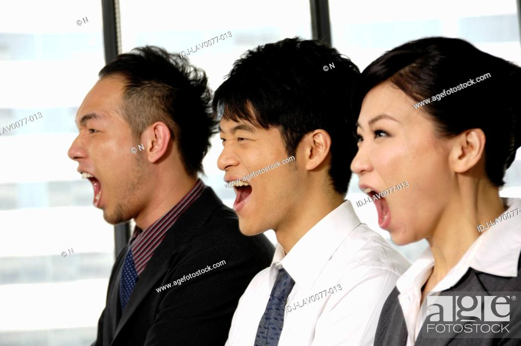 Stock Photo: Business executives shouting in a row.