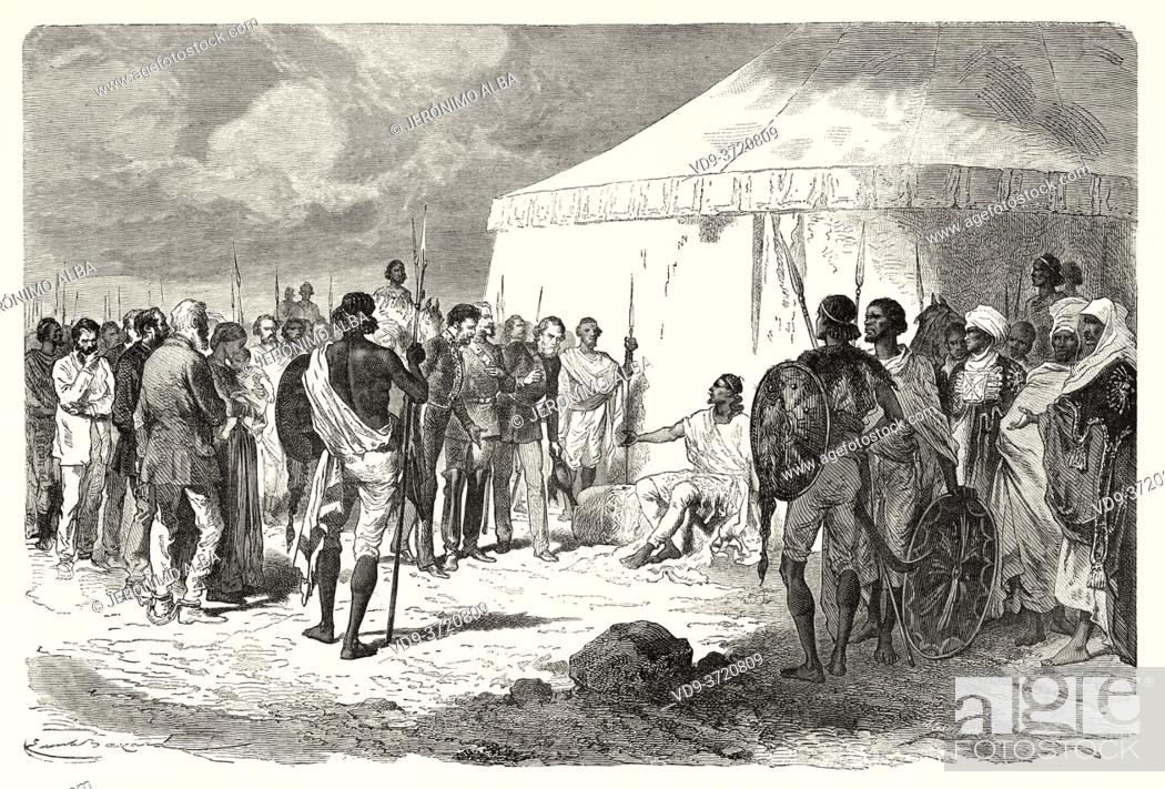 Photo de stock: Hormuzd Rassam being received by Tewodros II in Abyssinia, Ethiopia. Old 19th century engraved, Narrative of a Journey through Abyssinia by Guillaume Lejean.