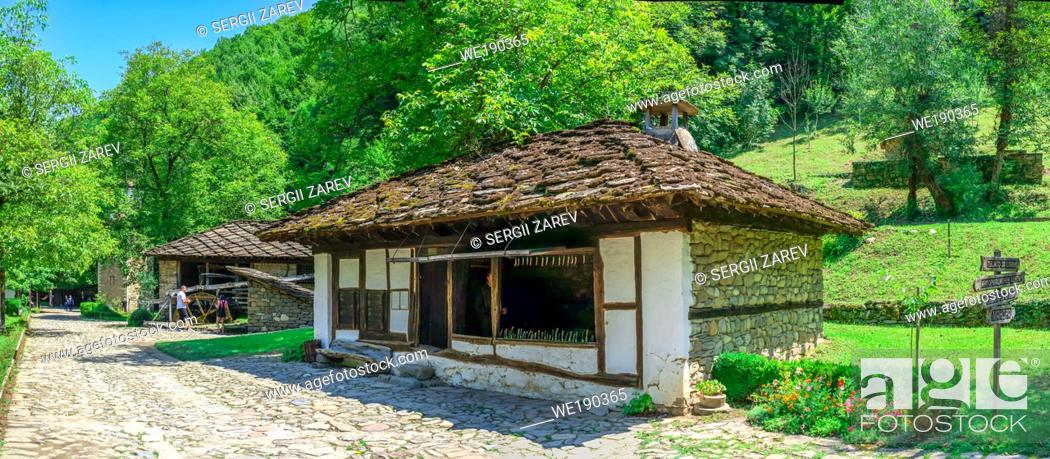 Stock Photo: Gabrovo, Etar, Bulgaria - 07. 27. 2019. Old traditional house in the Etar Architectural Ethnographic Complex in Bulgaria on a sunny summer day.