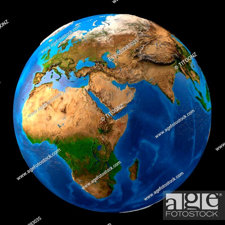 Stock Photo: Planet earth. High detailed satellite view of the Earth and its landforms, isolated on black background. Elements of this image furnished by NASA - 3D.