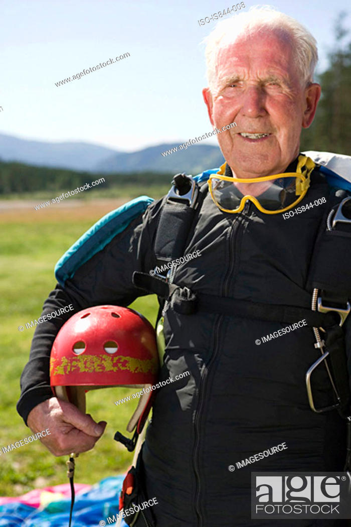 Stock Photo: Senior adult parachutist.