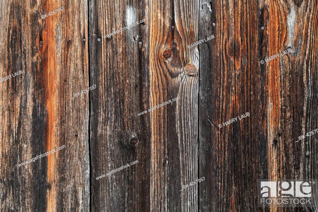 Stock Photo: Old wooden boards on a barn wall, Allgäu, Bavaria, Germany.