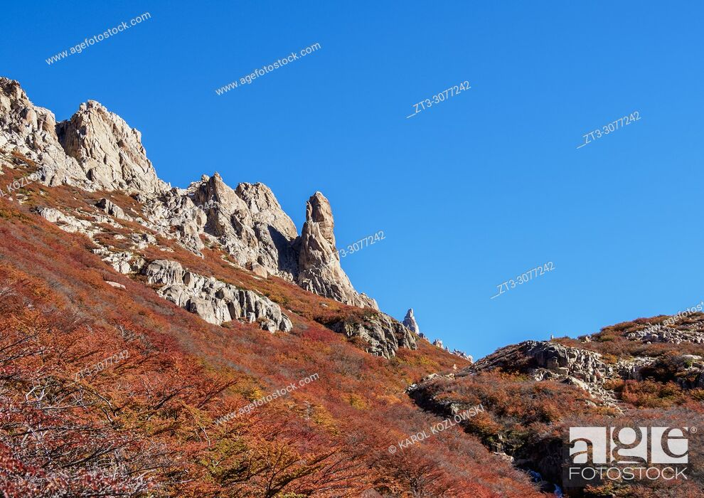 Stock Photo: View towards the Aguja Frey, Nahuel Huapi National Park, Rio Negro Province, Argentina.