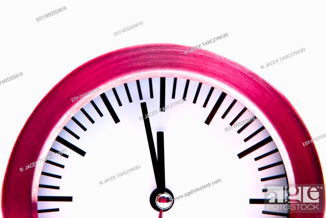 Stock Photo: two minutes to midnight on clock isolated on white background.