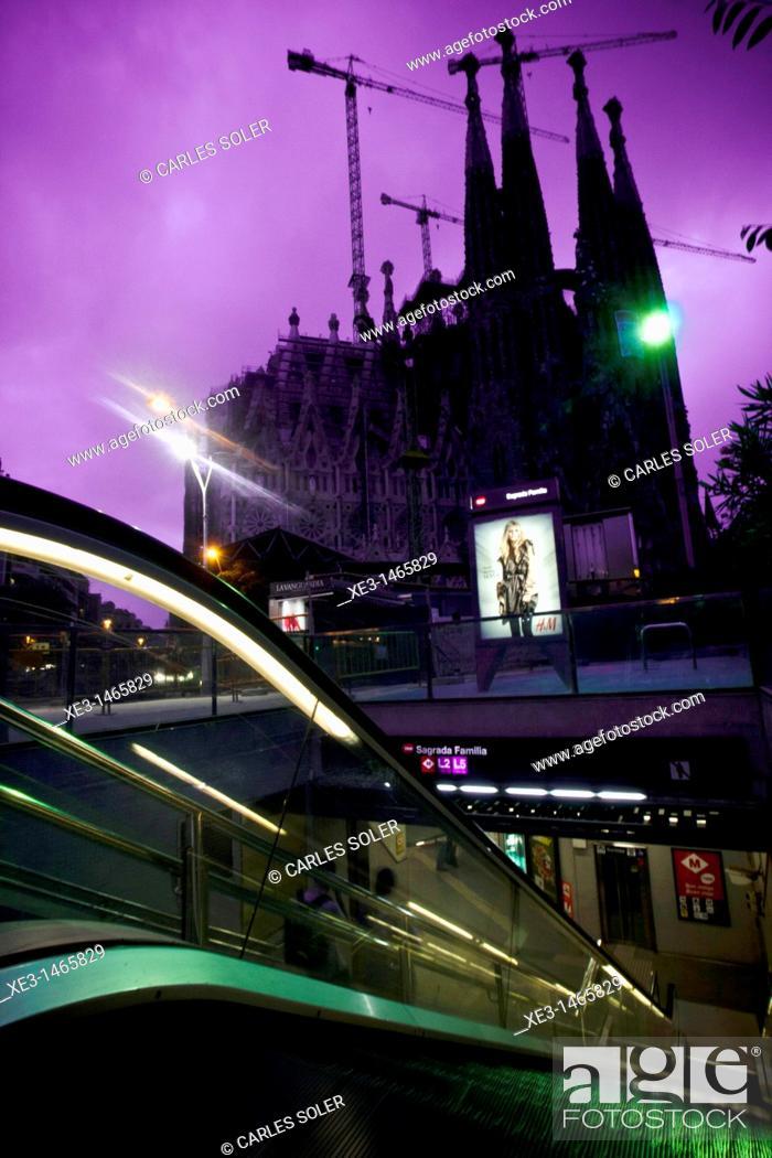 Stock Photo: Subway station, Sagrada Familia, Barcelona, Catalonia, Spain.