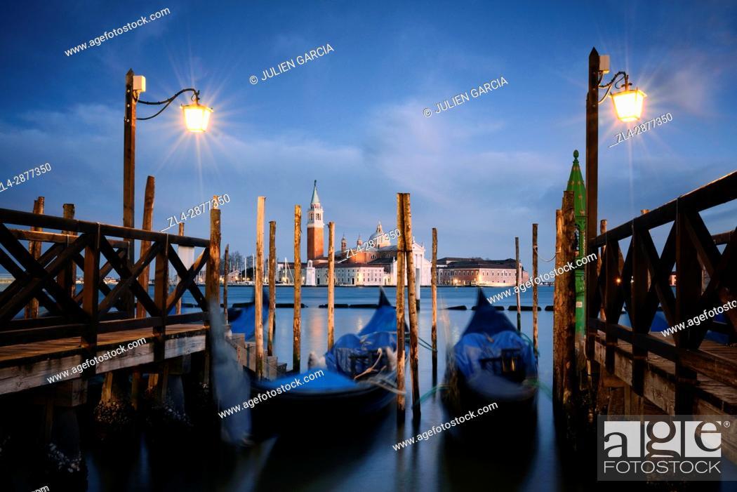 Stock Photo: Italy, Veneto, Venice, listed as World Heritage by UNESCO, Saint Mark's Square (Piazza San Marco), gondolas at Riva degli Schiavoni docks.