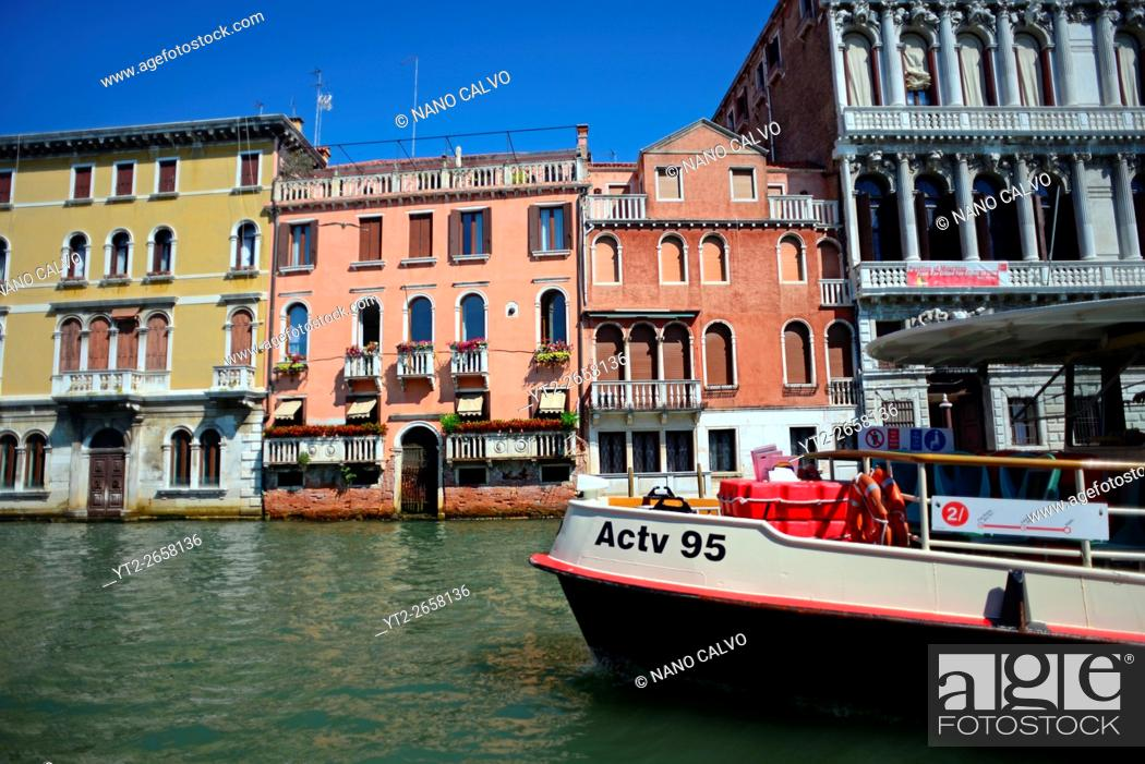 Stock Photo: Cityscape of Venice from canal, Italy.