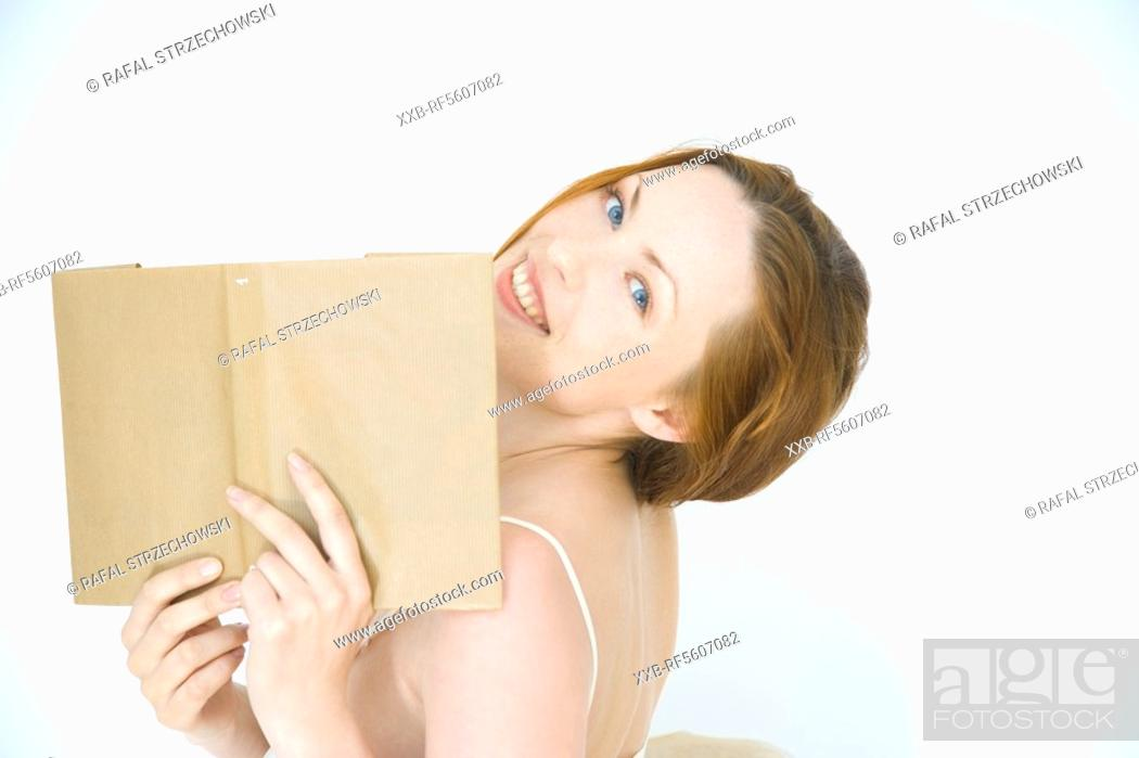 Stock Photo: woman with book.