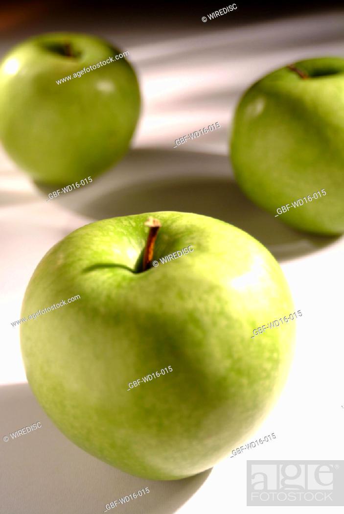 Stock Photo: Food, fruit, green apple.