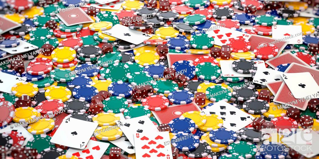 Stock Photo: Casino chips, dice and poker cards background. 3d illustration.