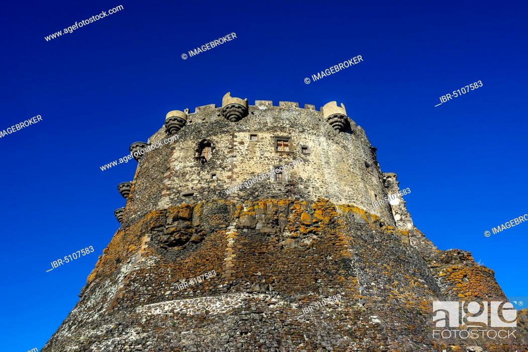 Stock Photo: Murol medieval castle, Puy de dome department, Regional Natural Park of the Auvergne volcanoes, Auvergne-Rhone-Alpes, France, Europe.