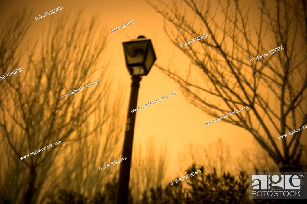 Stock Photo: Lamp in evening, Alcorcón, Madrid, Spain.