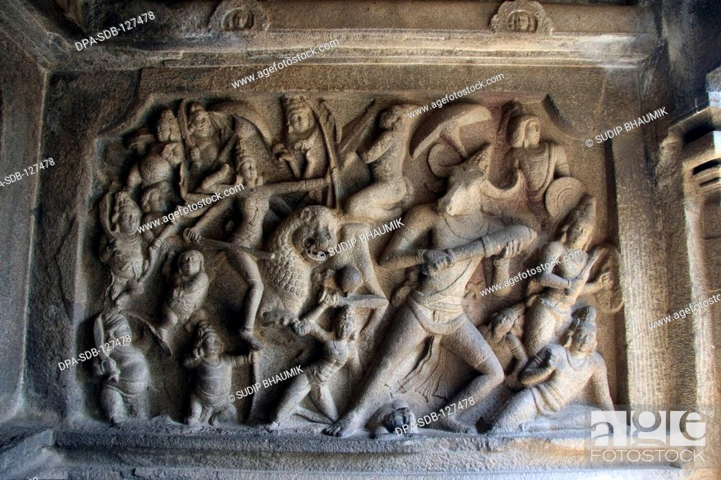 Stock Photo: Devi Durga fighting Mahisasura ; Mahushamardani Mandapam ; Mamallapuram ; Tamil Nadu ; India.