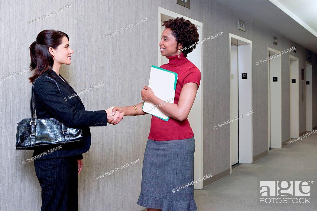 Stock Photo: Businesswomen shaking hands.
