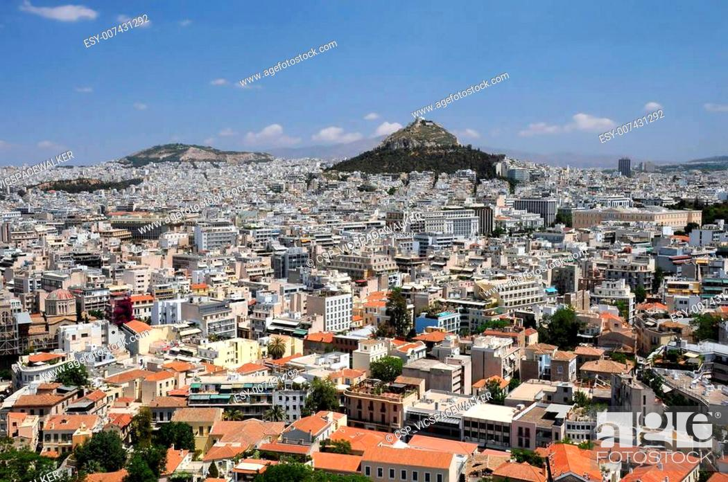 Stock Photo: View of Lycabettus Hill in Athens.