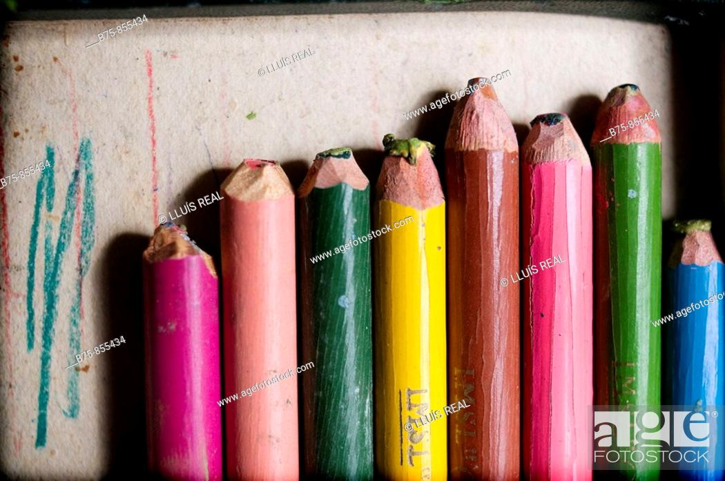 Stock Photo: Old crayons.