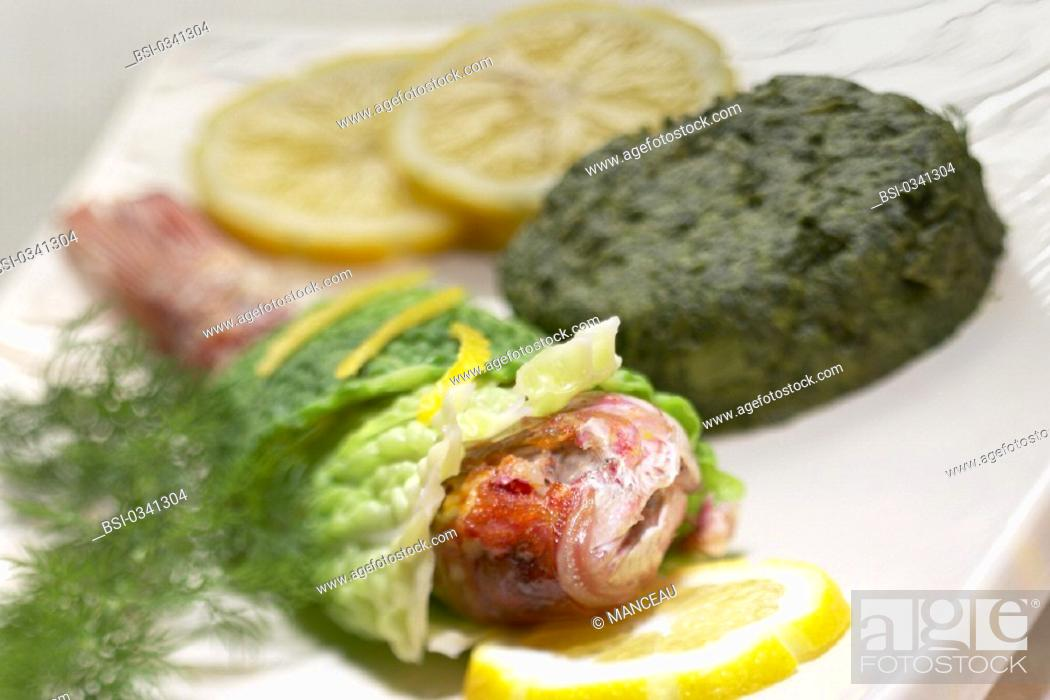 Stock Photo: FISH DISH<BR>Mullet with spinach.