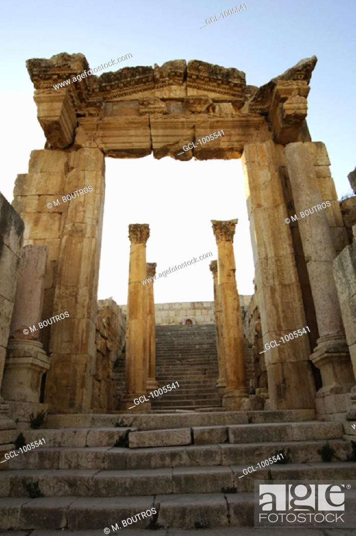 Stock Photo: Main Entrance of the Cathedral in Jerash, Jordan.