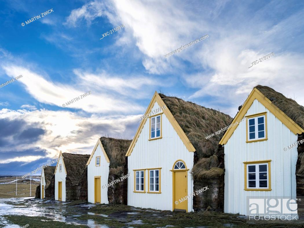 Stock Photo: Open air museum of Glaumbaer in Winter. Traditional houses with roof buildt of turf and peat. europe, northern europe, iceland, February.