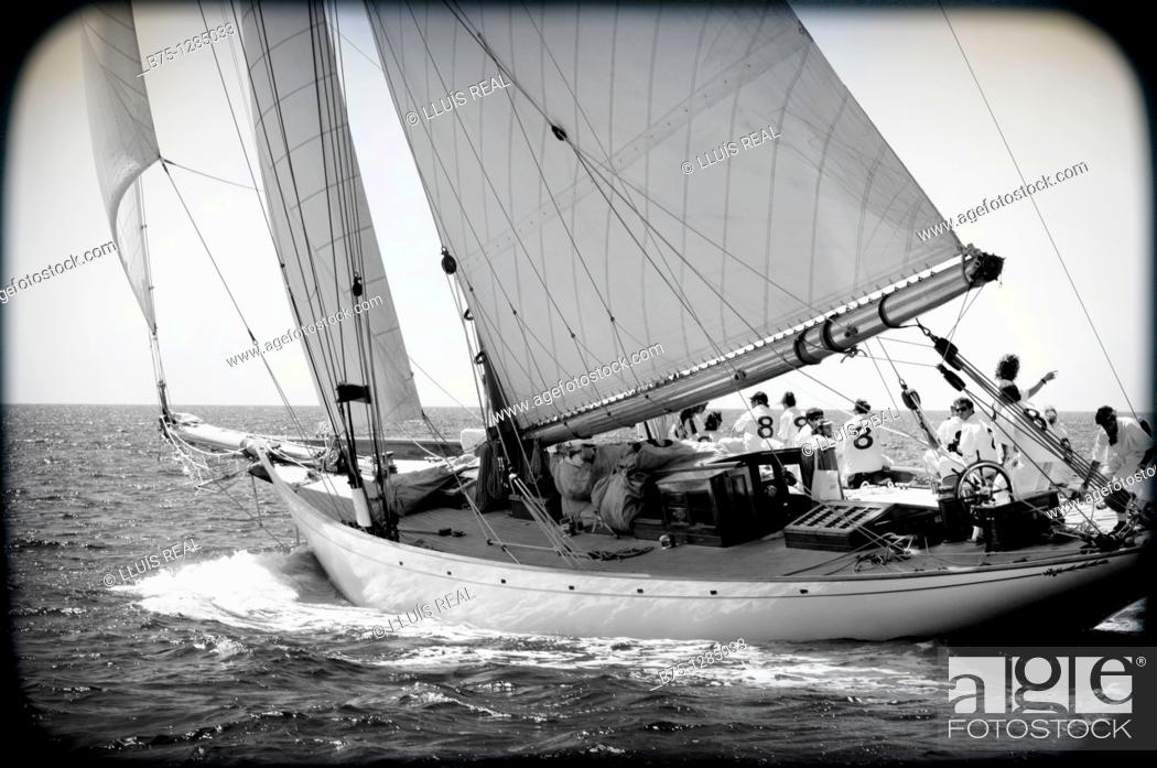 Stock Photo: vintage racing boats, Minorca, Balearic Islands, Mediterranean Sea.