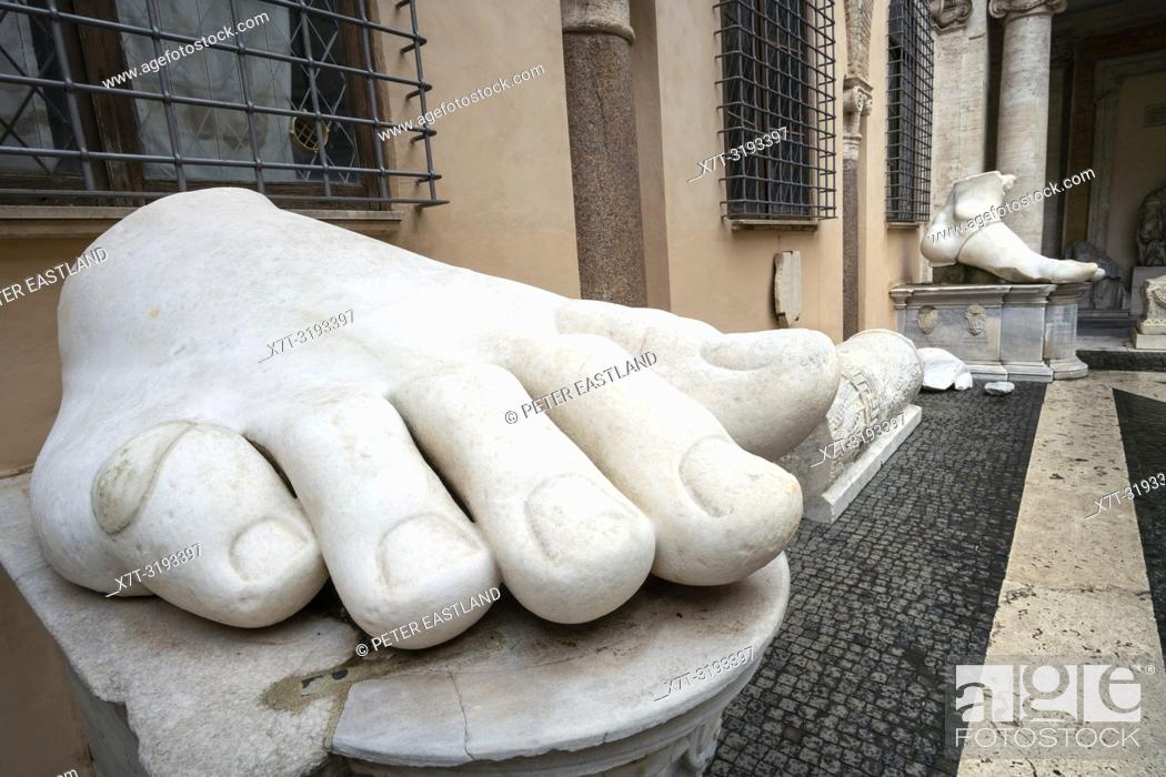 12902fb6f82 Stock Photo - The right foot of the Colossus of Constantine in the  courtyard of the Palazzo dei Conservatori
