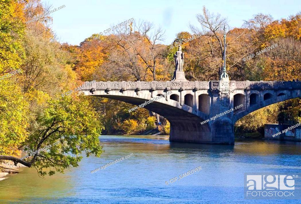 Stock Photo: Munich, Maximilian bridge on Isar river.