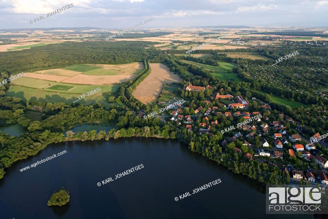 Stock Photo: Riddagshausen Abbey monastery and lake near Brunswick, Lower Saxony, Germany.
