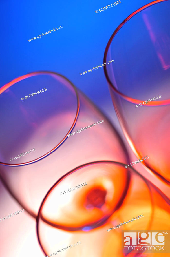 Stock Photo: High angle view of three wineglasses.