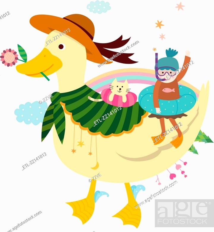 Stock Photo: Duck and a girl.