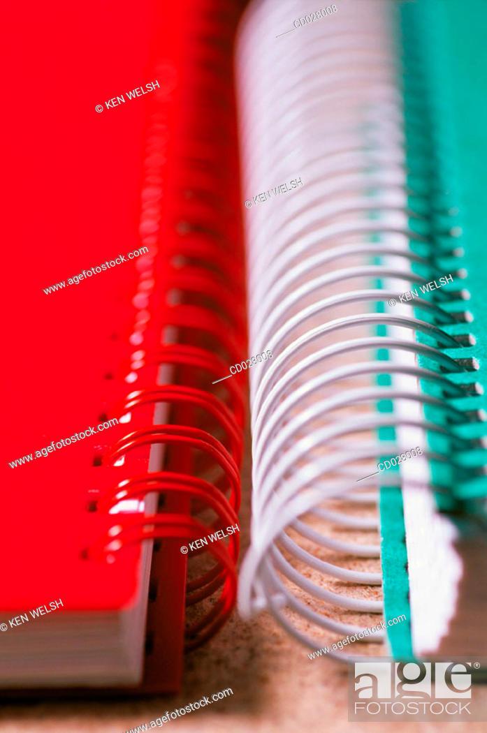 Stock Photo: Spiral bound notebooks.