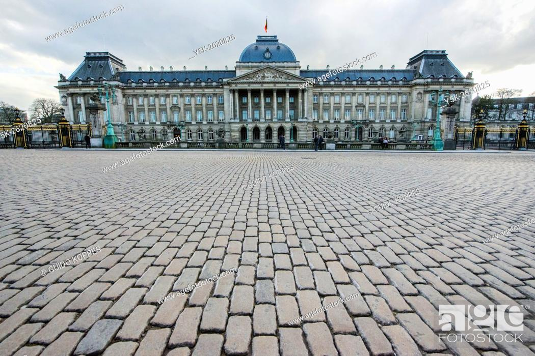 Stock Photo: Brussels, Belgium. Facade of the Royal Palace at the Place des Palais.